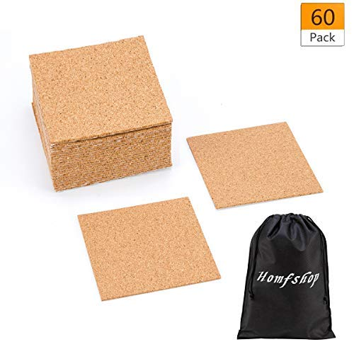 """60 Pack Self-Adhesive Cork Squares - 4""""x 4"""" Cork Backing Sheets Mini Wall Cork Tiles for Coasters and DIY Crafts"""