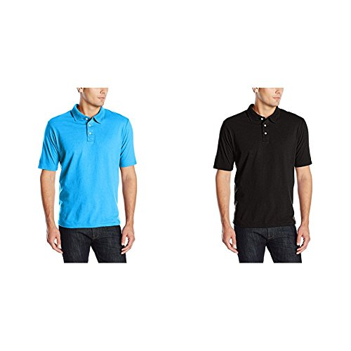 Hanes 2 Pack X-Temp Performance Polo Shirt, Neon Blue Heather/Black, Medium/Medium -