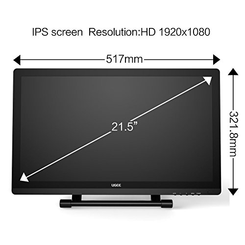 Ugee UG-2150 21.5 Inch Graphics Drawing Monitor Digital Pen Display IPS Screen with HD Resolution, 2 Original Pen, 1 Glove and 1 Screen Protector by Ugee (Image #3)
