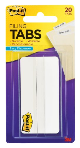 Post-it Tabs, 3 in. Solid, White, Durable, Writable, Repositionable, Sticks Securely, Removes Cleanly, 20 Tabs/On-The-Go Dispenser, (686-20W3IN) ()