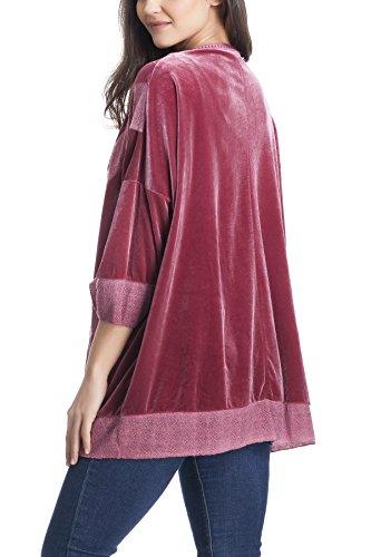 Laura Moretti - Chaqueta de terciopelo estilo KIMONO con encajes y bordados Bordo