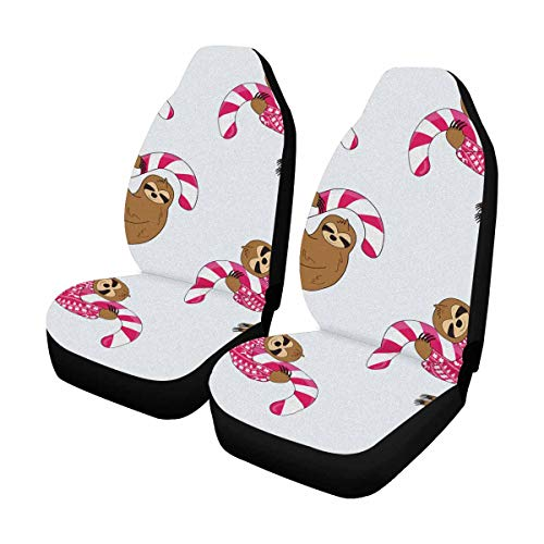 INTERESTPRINT Custom Sloth Candy Cane Car Seat Covers for Front of 2,Vehicle Seat Protector Fit Most Car,Truck,SUV,Van