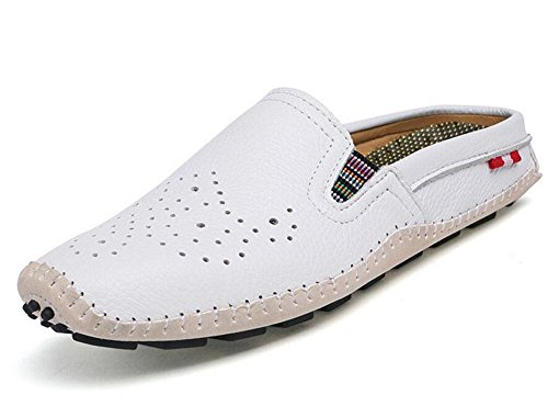 GLTER Hombres Sandalias transpirables Zapatos Casual Zapatillas Zapatos 2017 Verano Nueva Zapatillas De Playa De Cuero White