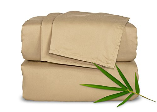 Pure Bamboo Sheets Luxuriously Soft Bed Sheet Set (Queen, Sand) (Sheet Bamboo Bed)