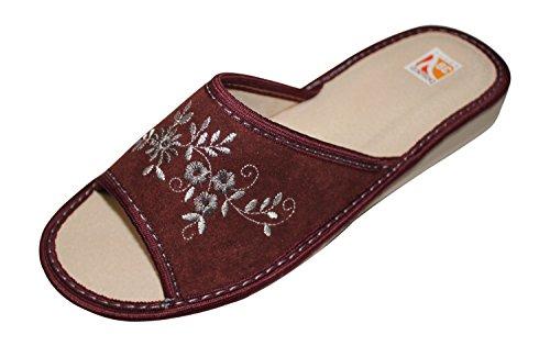 Bosaco Femmes Confort Cuir Véritable Slip Sur Pantoufles Maison Chaussures Bourgogne- V1