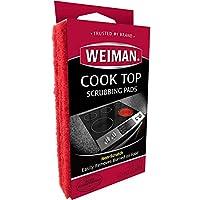 Almohadillas de fregado para la parte superior de la cocción Weiman: limpie y retire suavemente los alimentos quemados de todas las gamas de encimeras de vidrio y tapa lisa, 3 almohadillas reusables