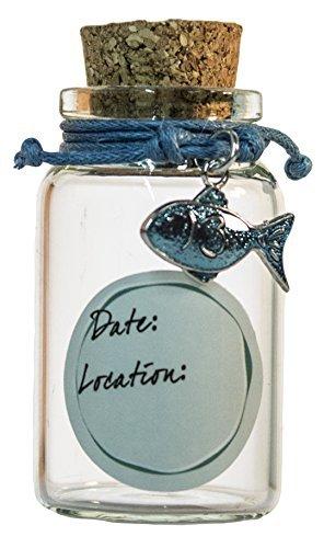2 Inch Bracelet and Beach Sand Keepsake Jar (Blue Fish) -