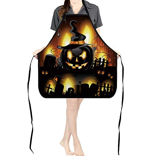 Jiahong Pan Durable Kitchen Halloween Background with Cemetery and Pumpkin Chef Apron for Cooking,Grill and BakingK26.6xG27.6xB10.2]()