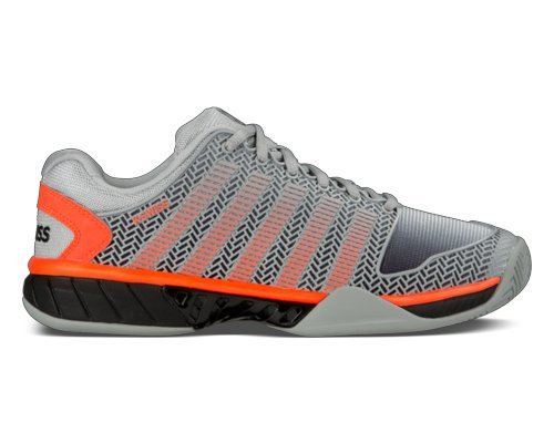 K-Swiss Men's Hypercourt Express Tennis Sneaker Shoe (8 D(M) US, Highrise/Black/Neon Blaze)
