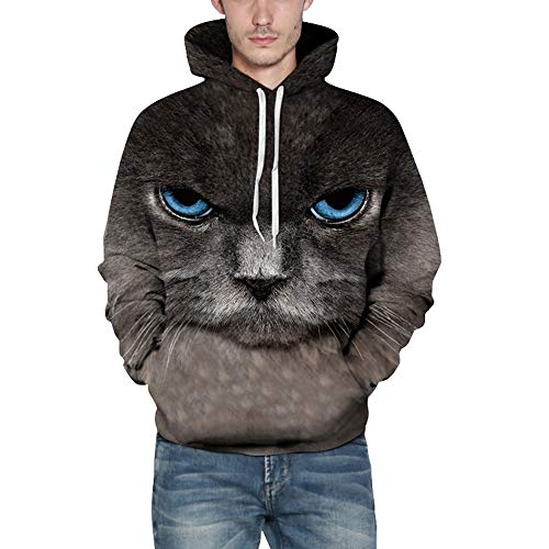 Mens Sweatshirt,Realdo Fashion Casual Autumn Winter 3D Print Comfy Caps Skin Hoodie Tops Blouse(XX-Large/3X-Large,Cat) from Realdo