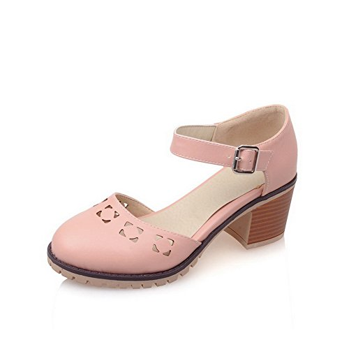 AmoonyFashion Womens Solid PU Kitten-Heels Zipper Round Closed Toe Boots