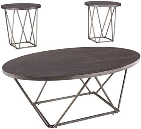 Signature Design by Ashley – Neimhurst 3-Piece Table Set – Coffee Table and Two End Tables, Brown Wood