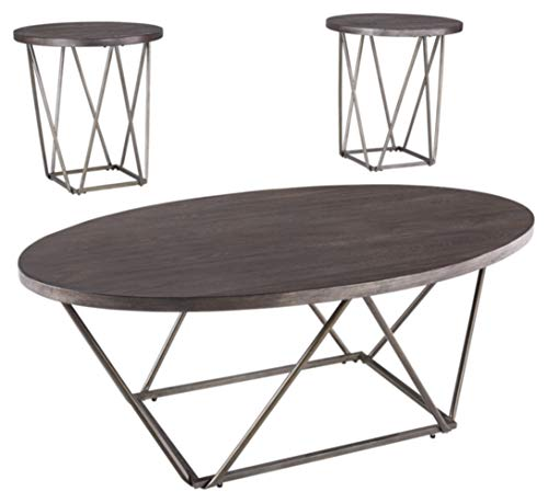 Signature Design by Ashley T384-13 Ashley Furniture Signature Design - Neimhurst Occasional Table Set Set of 3 - Sleek, Brown