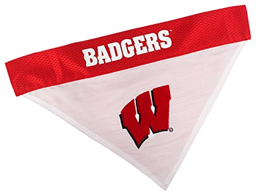 Pets First Collegiate Pet Accessories, Reversible Bandana, Wisconsin Badgers, Large/X-Large