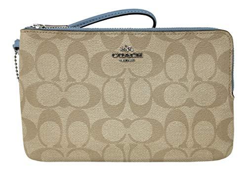 Coach Signature Large Double Zip Wristlet Bag Purse Khaki Cornflower F16109 ()