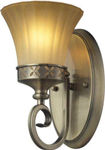 Elk 11426/1 6 by 10-Inch Claremont 1-Light Bathbar with Ribbed Amber Glass Shade, Colonial Bronze Finish (Claremont Glass)