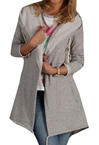Coolred Women's Active Suede Thickening Hooded Relaxed-Fit Cardigan Grey S