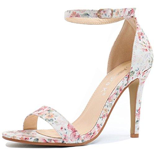 Allegra K Women Floral Ankle Strap Stiletto Heel Sandals Blue-3 7/8 Inches