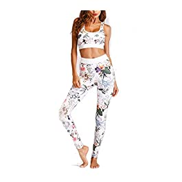 Women's Sportswear 2 Piece Tracksuit Vest Crop Top Leggings Boho Floral Print Stretch-Fit Yoga Jogging Gym Wear Set Fitness Training Outfit