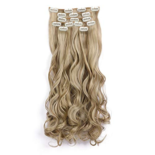 """Onedor 20"""" Curly Full Head Clip in Synthetic Hair Extensions 7pcs 140g (18H22)"""