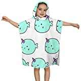 YL ZMSHOP Narwhal Baby Hooded Towel for Kids, Ultra Soft 100% Cotton Toddler Hooded Bath Towel Keeps Infant Dry and Warm, Excellent for Baths, Pool and Beach