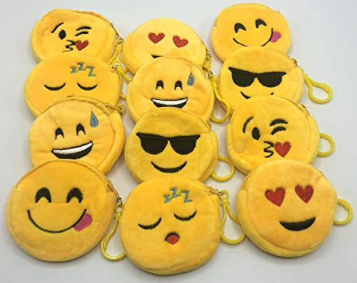 Emoji Keychains Plush Cute Coin Purses Bulk Toys For Kids Party Favors Supplies Carnival Prizes Valentines Gifts 12pack