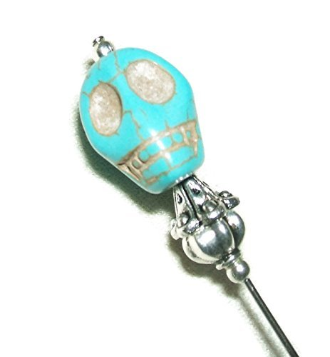STONE SKULL Stick Hat Pin Long Hatpin SILVER Plt Turquoise Blue Carved Skeleton (Turquoise Stick Pin)