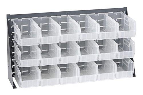 Offex Bench Rack Storage Unit with 18 Clear Storage Bins - 3