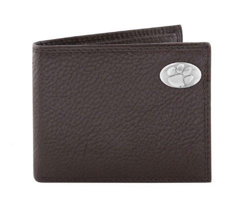 NCAA Clemson Tigers Brown Pebble Grain Leather Bifold Concho Wallet, One Size