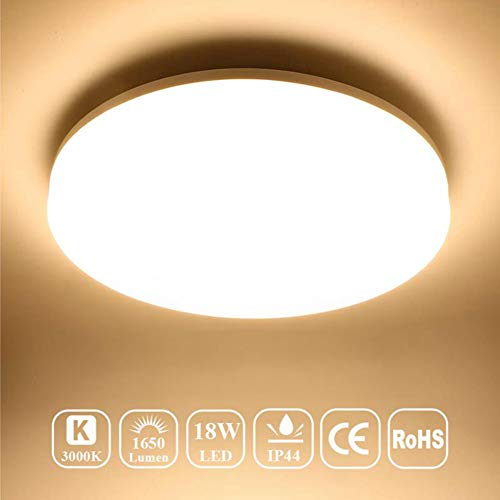 Airand Ceiling Light LED 3000K Flush Mount 18W Ceiling Lights Fixture 9.5'' Round LED Ceiling Lamps for Kitchen, Hallway, Bathroom, Stairwell, 1650LM, Waterproof IP44, 80Ra (Warm ()