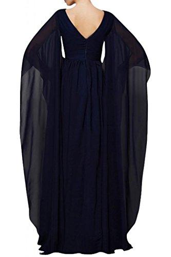 Elegante V-cuello de la Toscana novia largo Mangas Gasa madre de la novia por la noche vestidos de bola vestidos de fiesta de largo Rojo