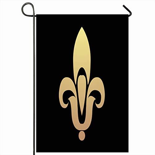 Fleur De Lys Emblem - Ahawoso Outdoor Garden Flag 12x18 Inches Royal France Pink Black Heraldic Lily Vintage Emblem Fleur LYS Floral Flower French Gold Heraldry Design Seasonal Double Sides House Yard Sign