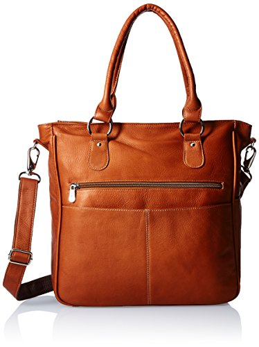 Piel Leather Carry-All Cross Body Tote, Saddle