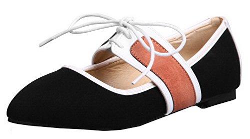 Allhqfashion Dames Lage Hakken Geassorteerde Kleur Veter-frosted Pumps-schoenen Zwart