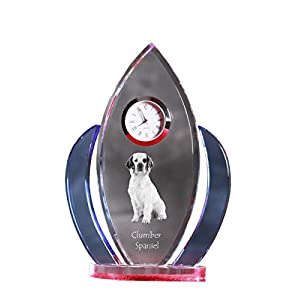 Clumber Spaniel, Crystal Clock, Shape of Wings with The Image of a Dog 10