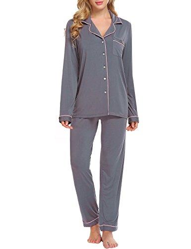 Ekouaer Women's Long Sleepwear Pajama Set Loungewear, Gray, L