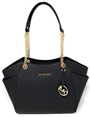 The Jet Set Chain Shoulder Bag has chain handles to add class to your look. Sharp gold accents a deep black tote so you can pair it with most anything. The perfect size to hold most of your things, it zips closed with both inside and outside ...