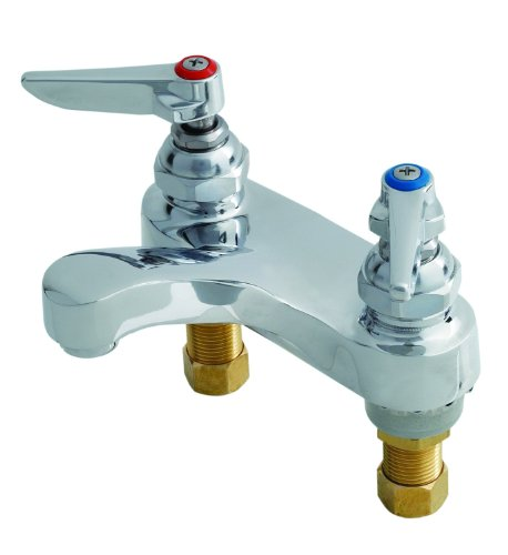 T&S Brass B-0871-WS  Lavatory Faucet, Deck Mount, 4-Inch Centers, 1.5 GPM Aerator, 1/2-Inch NPSM Male Shanks by T&S Brass