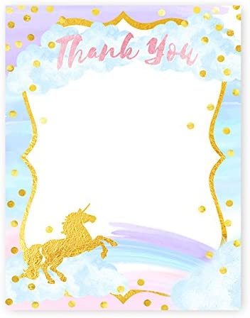 Magical Unicorn Thank You Cards Made in the USA POP parties by Gwynn Wasson Designs 10 Envelopes 10 Cards