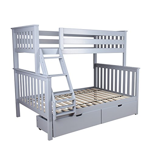 Max & Lily Solid Wood Twin over Full Bunk Bed with Under Bed Storage Drawers, Grey