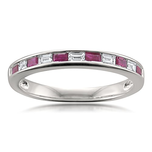 (14k White Gold Baguette Diamond & Red Ruby Bridal Wedding Band Ring (1/2 cttw, I-J, VS2-SI1), Size 7)