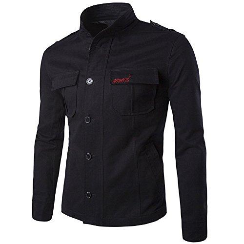 algodón manga Chaqueta botones para hombre y estilo con ajustado casual cuello larga ligera Negro cremallera con de entallado 4wqSFqB