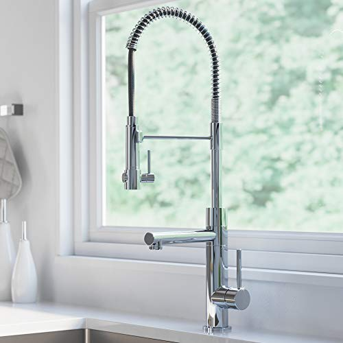 KRAUS KPF-1603CH Atrec 2-Function Commercial Style Pre-Rinse Kitchen Faucet with Pull-Down Spring Spout and Pot Filler, 24 3/4 inch, Chrome Finish (Best Commercial Style Kitchen Faucet)