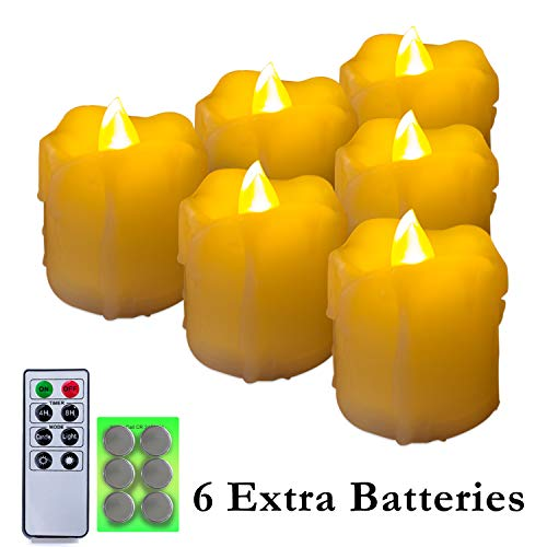 Homemory 400+ Hours 6 Pack Flameless LED Votive Candles with Timer, Battery Operated and Remote Control, Flickering Tea Lights 1.5x1.7 inches -Christmas, Thanksgiving