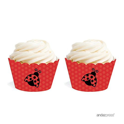 Andaz Press Birthday and Baby Shower Cupcake Wrappers, Ladybug, 20-Pack, Decor Decorations Wraps Cupcake Muffin Paper Holders - Bugs Birthday Cake