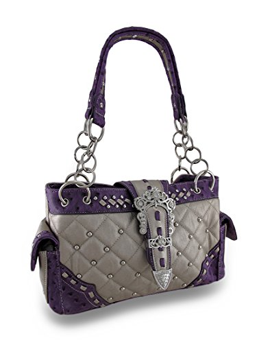 Quilted Metallic Studded Purse Rhinestone Buckle / Ostrich Print Trim Vinyl Womens Handbags Purple (Buckle Handbag Metallic)