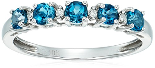 10k White Gold London Blue Topaz and Diamond Accented Stackable Ring, Size 7