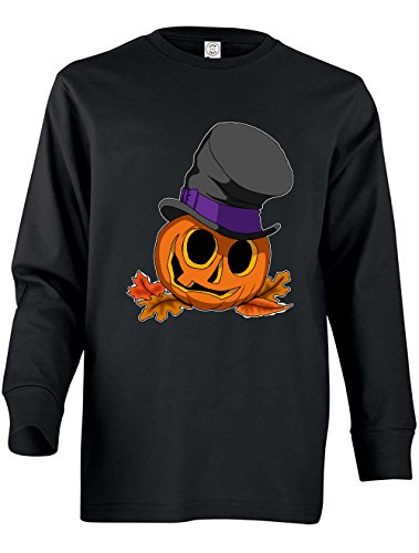 Tenacitee Girl's Youth Halloween Pumpkin Long Sleeve T-Shirt, Small, Black