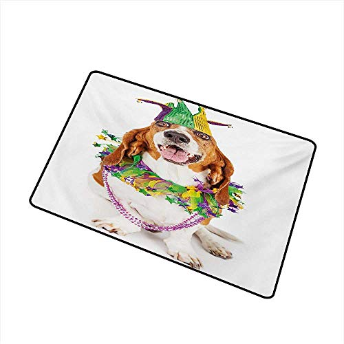 Mardi Gras Universal Door mat Happy Smiling Basset Hound Dog Wearing a Jester Hat Neck Garland Bead Necklace Door mat Floor Decoration W19.7 x L31.5 ()