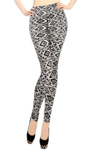 Size Mujeres Tribal Multipatrón Las One Completa Elástico De brushed Simplicidad Leggings Longitud Primavera Bq45v7x